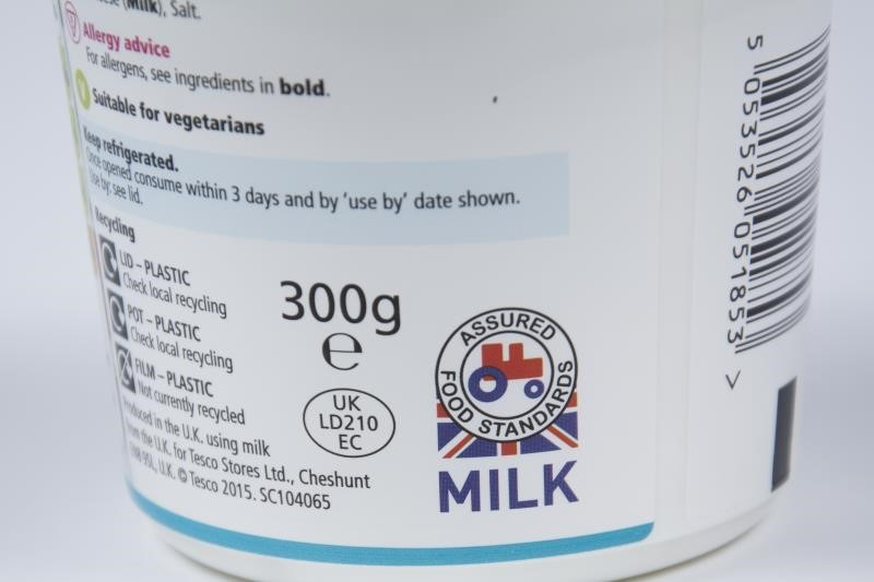 Red Tractor label cottage cheese, Tesco_38646