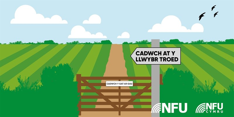 Countryside access, code, keep to the footpath, WELSH_77829