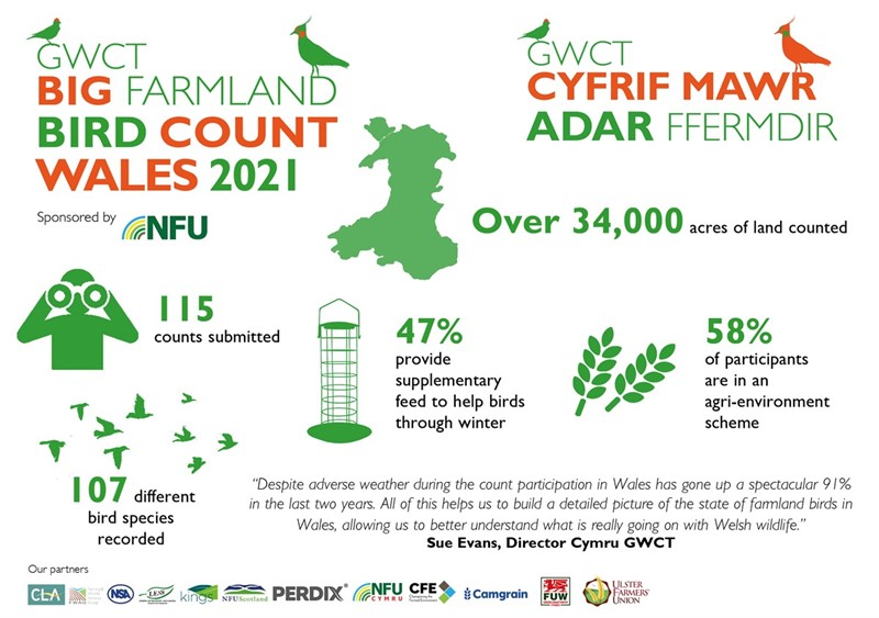 Biggest ever farmland bird count shows Welsh farmers committing to conservation