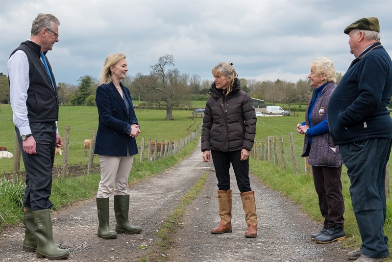 Minette Batters and Liz Truss on NFU members Michael and Margaret Atkins farm_78243