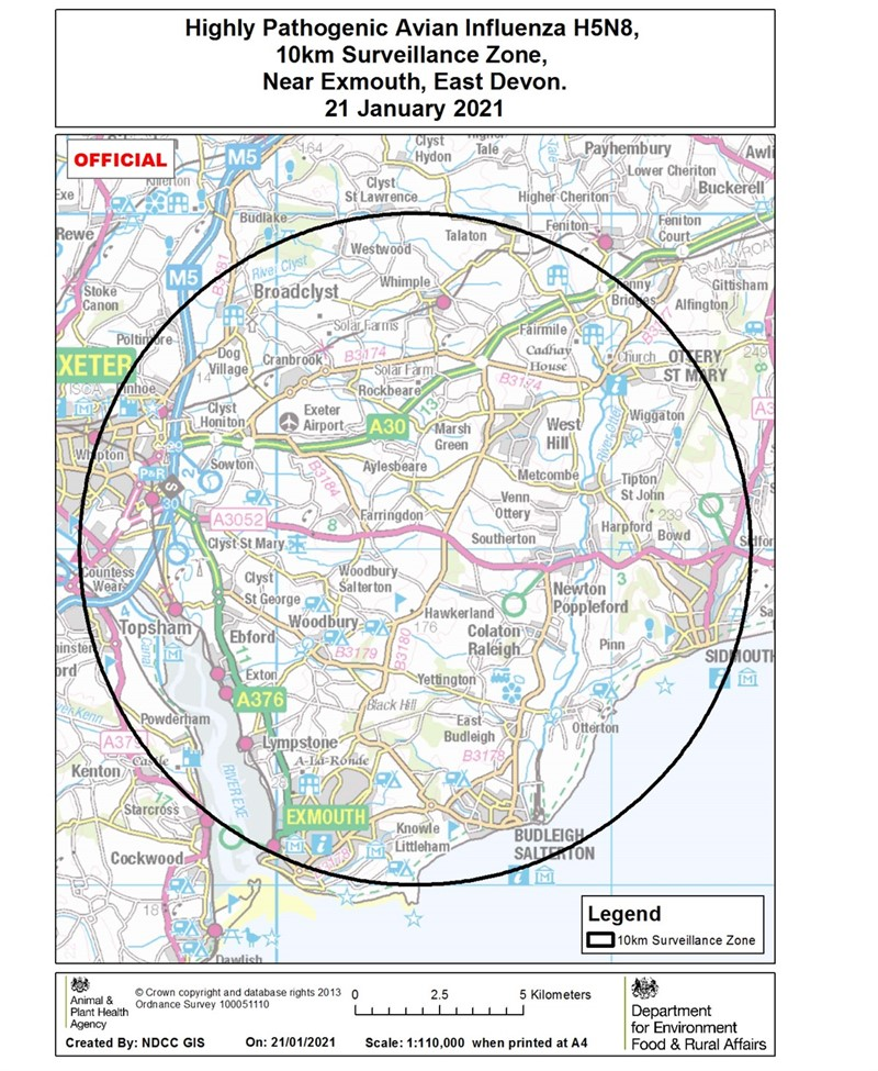 Exmouth avian influenza PZ and SZ map Dec 2020_76408