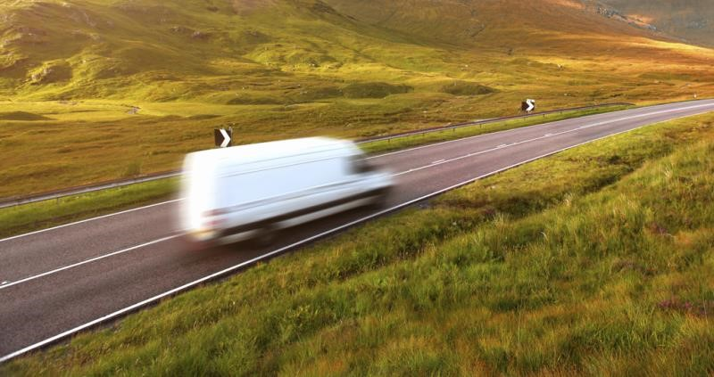 speeding van in countryside, transport, road, delivery, blur, motoring_36373