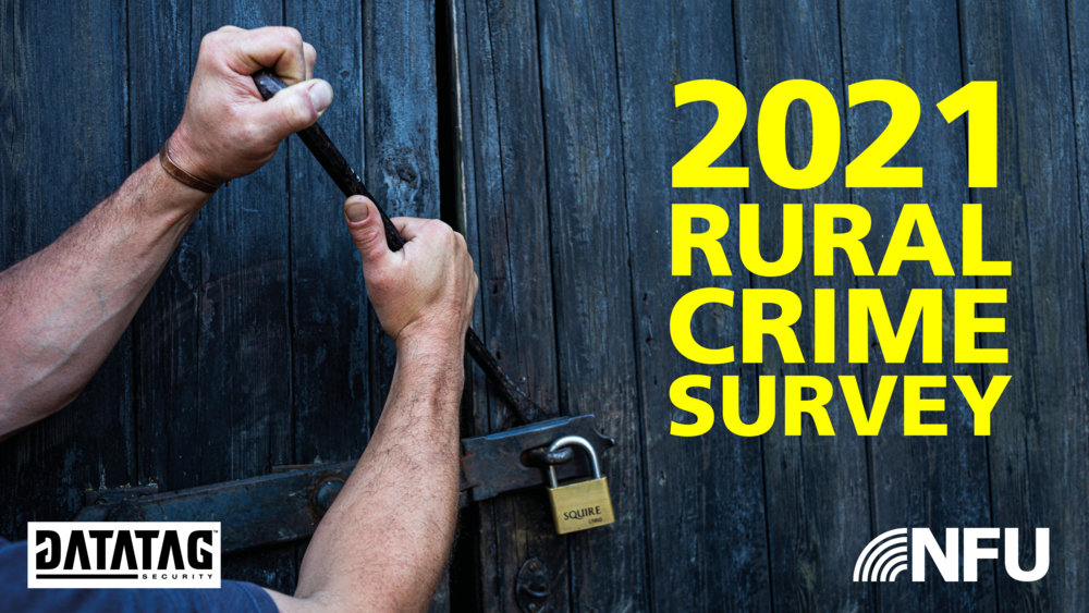 An image of someone using a crow bar to break into a barn overlaid with the text: 2021 Rural Crime Survey