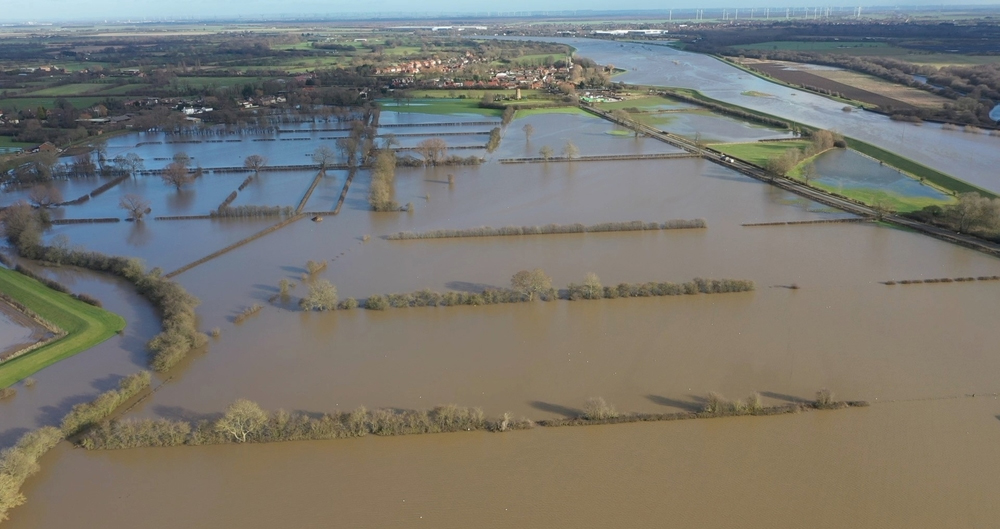 An image of flooded farmland at Fishlake, near Doncaster