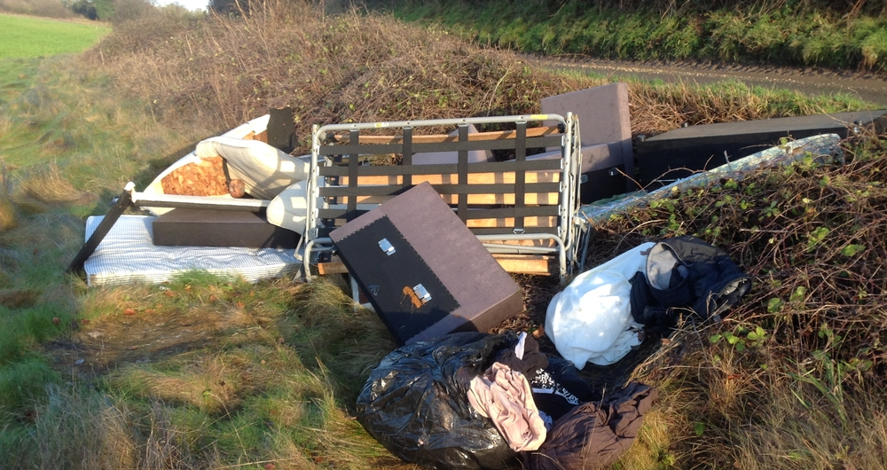 NFU member Paul Cherry speaking to Panorama about the fly-tipping on his farm in Hertfordshire