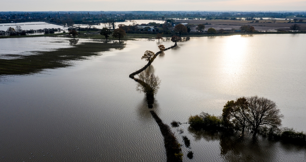 Flooded fields in South Yorkshire
