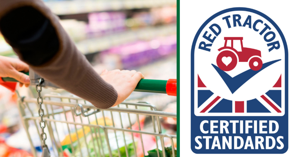 An image of a supermarket trolley with the Red Tractor logo