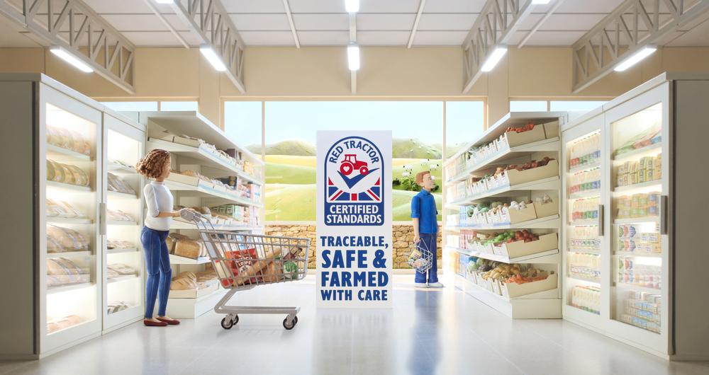 Red Tractor advert March 2021 supermarket sene.