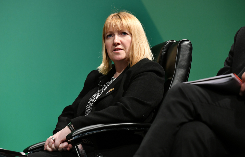 Gail Soutar is pictured sitting down talking to NFU Annual Conference 2019