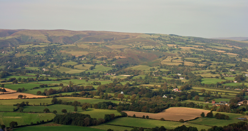Shropshire farming scene from the peak of The Lawl