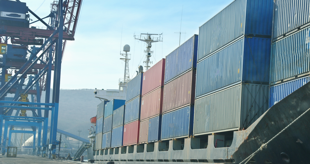 container vessel moored in the port