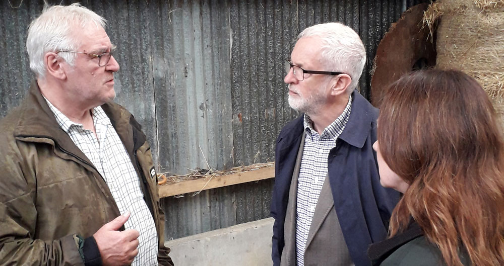 Jeremy Corbyn discusses no-deal Brexit during Cumbria farm visit