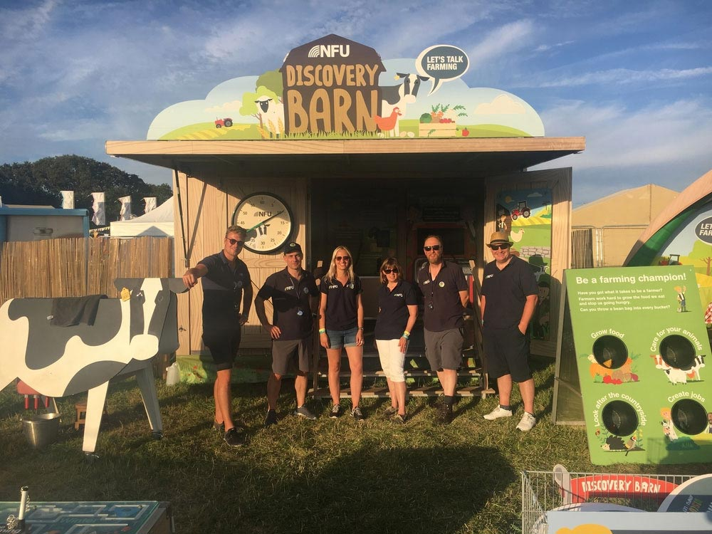 A photograph of the NFU Discovery Barn at CarFest South in August 2019