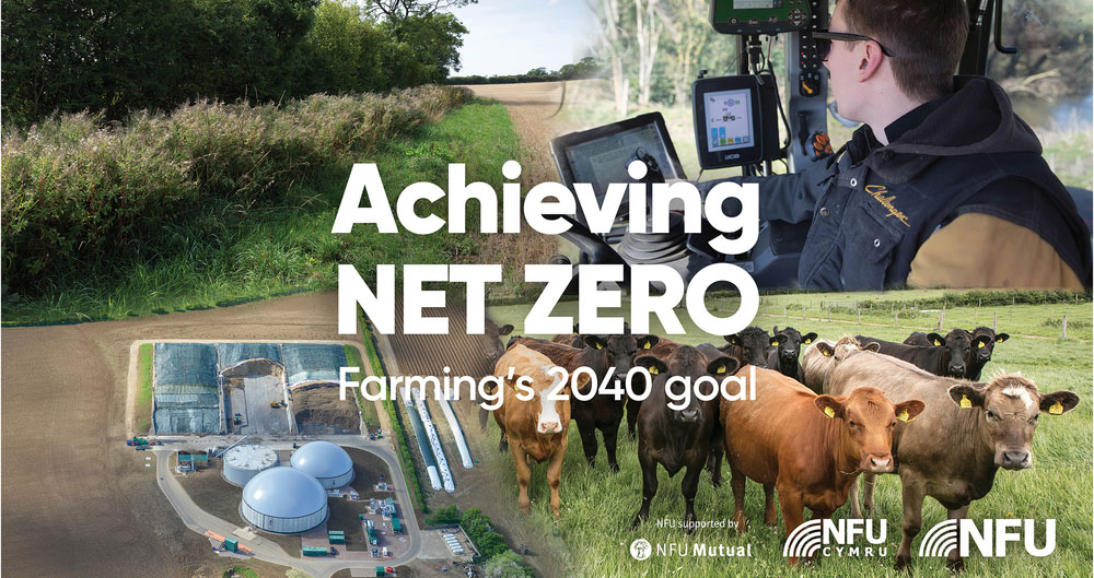 An image of the cover of the NFU report - Achieving Net Zero: Farming's 2040 goal