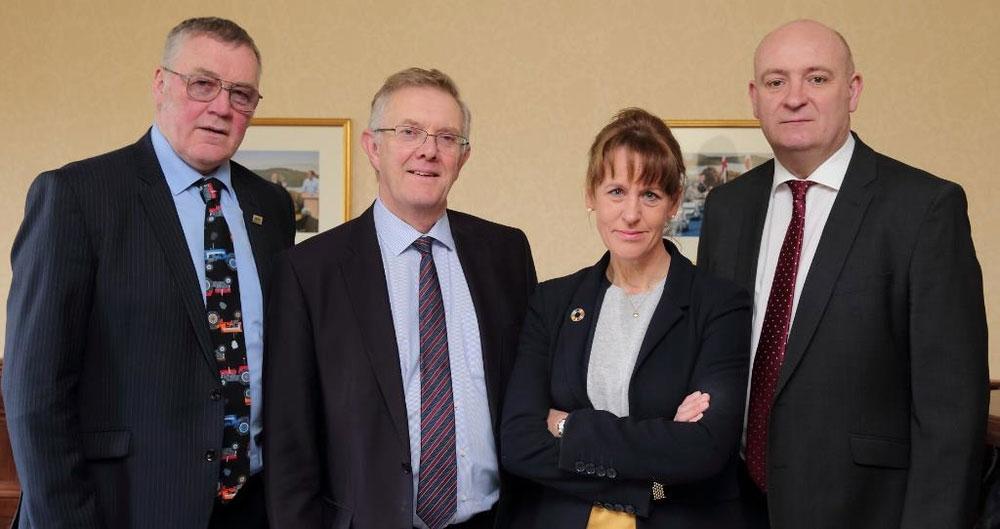 UK Farming Union Presidents (L-R: NFU Scotland President Andrew McCornick, UFU President Ivor Ferguson, NFU President Minette Batters, NFU Cymru President John Davies)