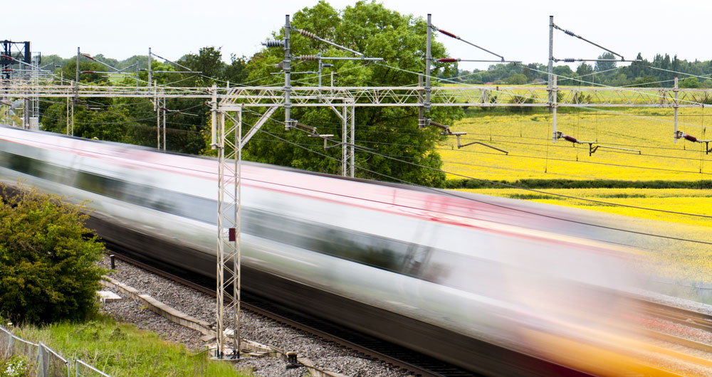 High speed rail making its way through the countryside