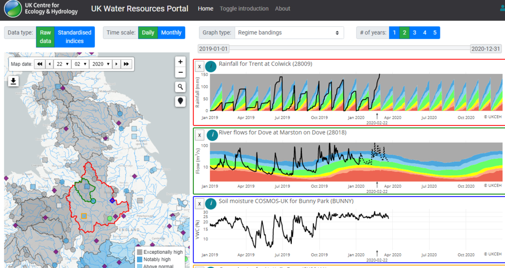 A screengrab of the UK Water Resources Portal