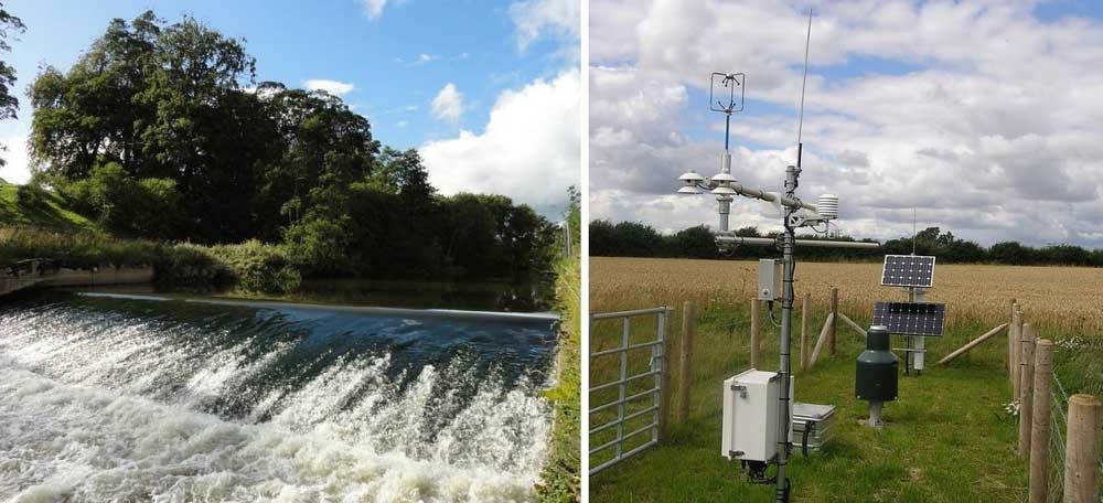 A composite image showing hydrology measuring equipment