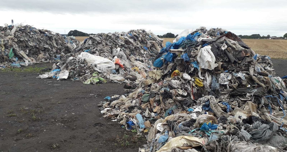 Plastic waste dumped on farmland in Yorkshire