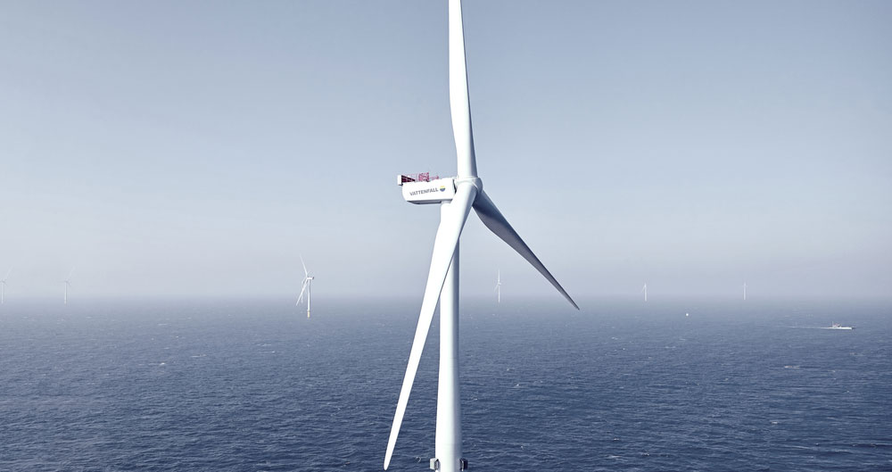 A picture of turbines at an offshore wind farm