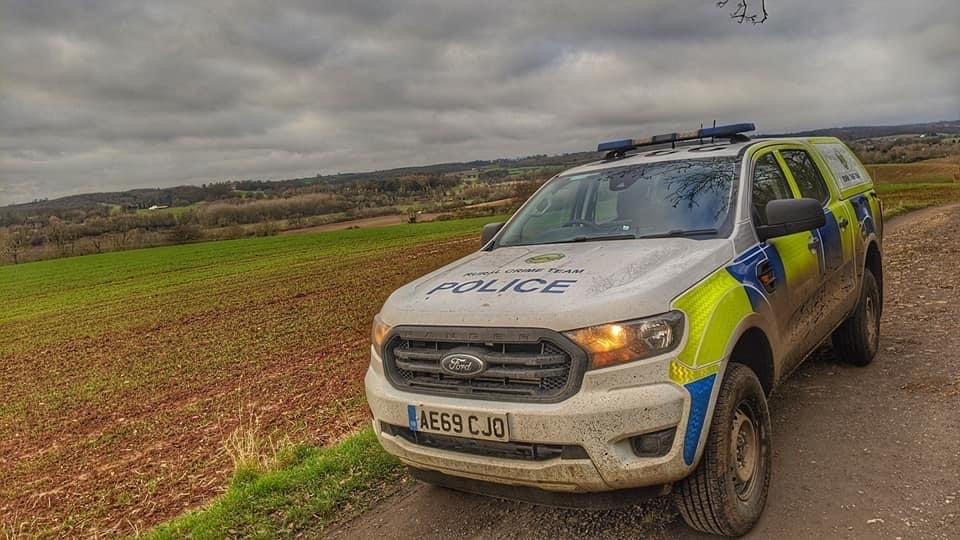 Warwickshire Police vehicle in countryside