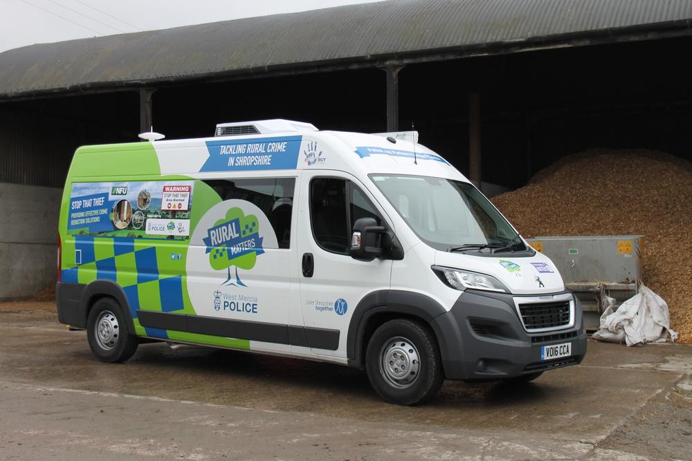 West Mercia Police Rural Crime van on farm in Shropshire
