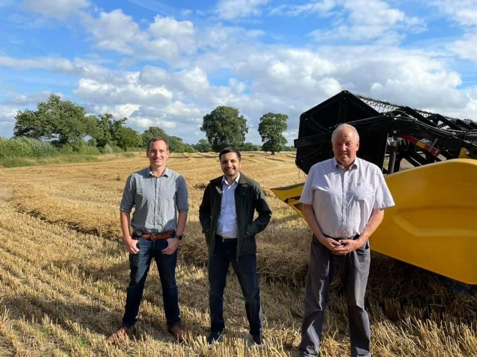 Harvest and lobbying on farm with MP