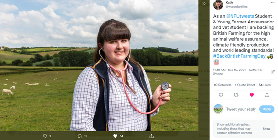 Back British Farming Day West Mids, young farming ambassador, Katie on Twitter
