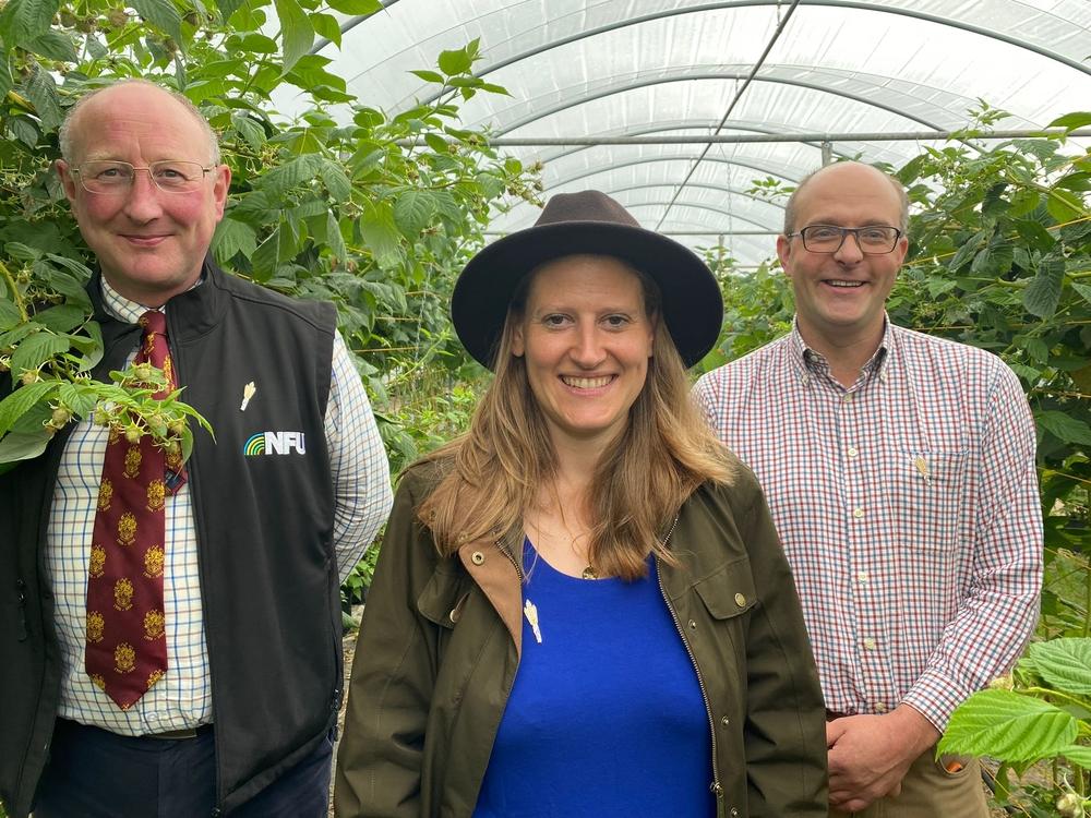 Theo Clarke MP on farm with Jeremy Lowe and Eddie Simpson