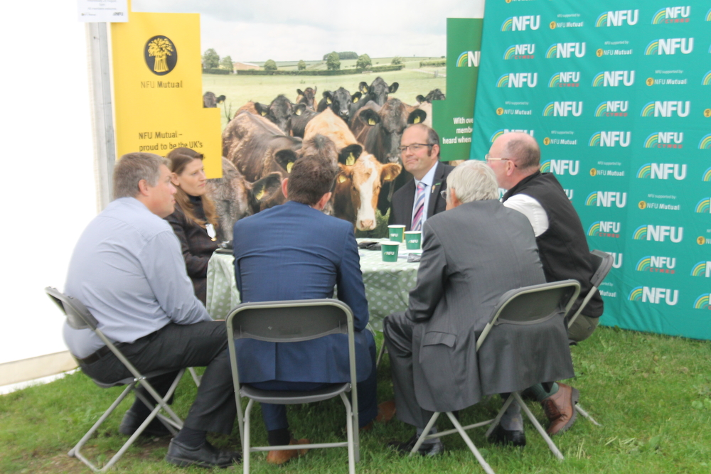 Theo Clarke MP speaking with members at Staffordshire Show 2021