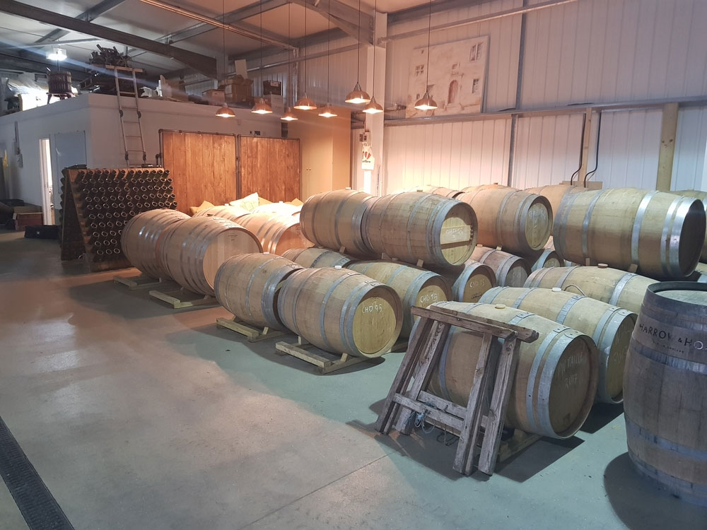 Wine barrels at Harrow and Hope vineyard