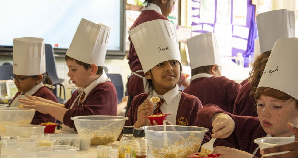 Farmvention chef visit St John Fisher Primary School