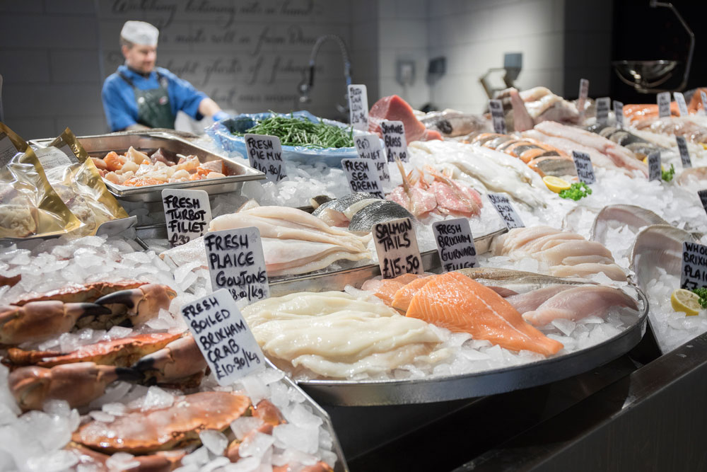 Fresh fish counter at the Severn & Wye Smokery in the Forest of Dean