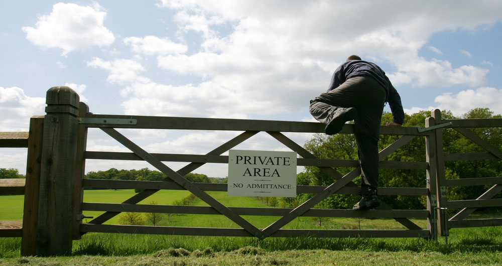 Rural crime thief breaking into farm