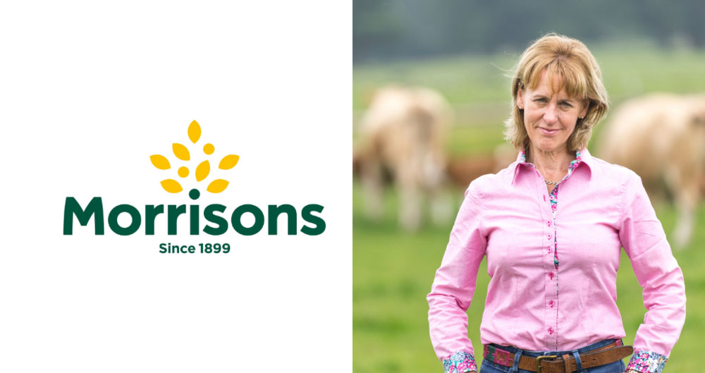 Morrisons logo and Minette Batters