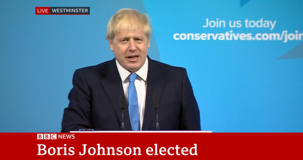 Incoming Prime Minister Boris Johnson