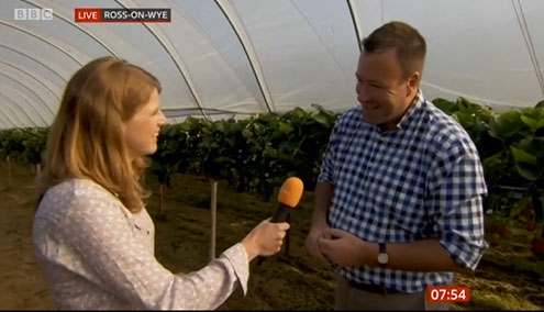 NFU Vice President Stuart Roberts being interviewed by BBC Breakfast on NFU member Anthony Snell's farm, reacting to the publication of the WRAP report