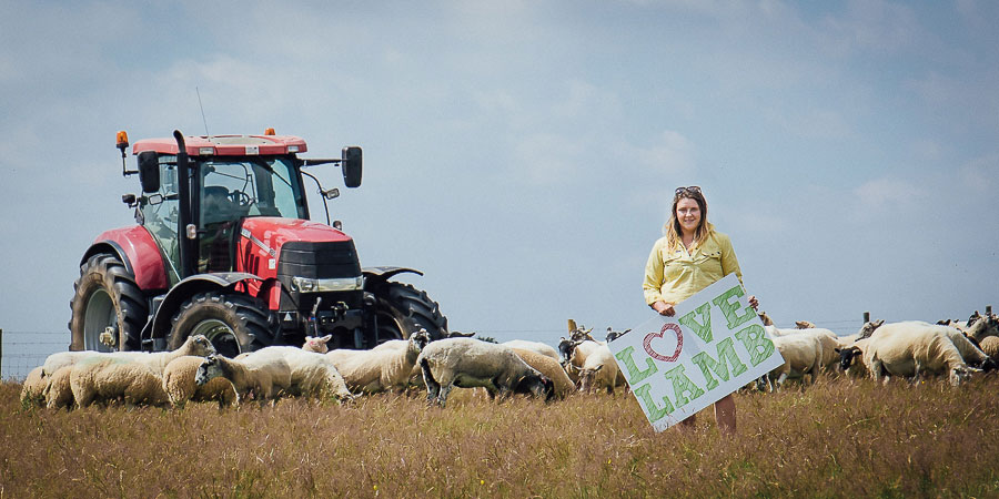 Livestock farmers and NFU member Charlie Beaty supporting Love Lamb Week 2019