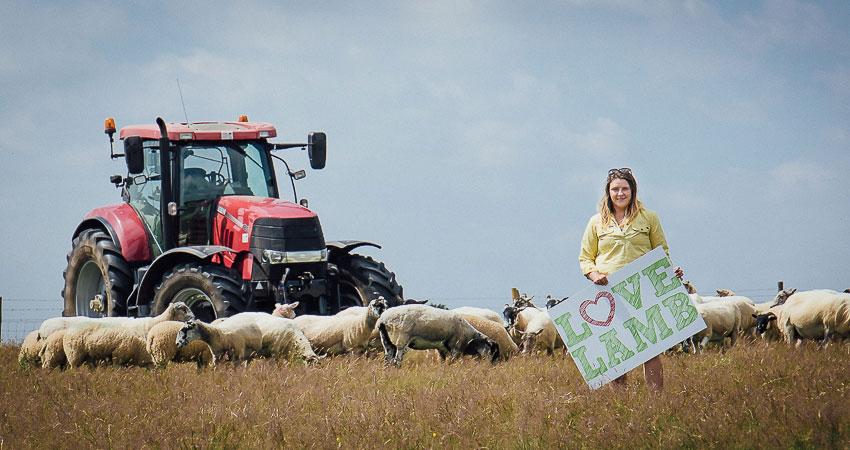 Livestock farmers and NFU member Charlie Beaty supporting Love Lamb Week 2019