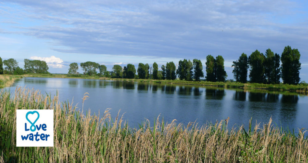 A photograph of a reservoir in Norfolk with the Love Water logo on it