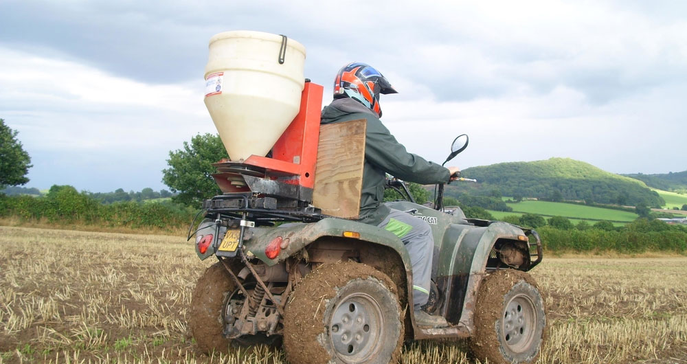 A picture of quad bike slug pellet application