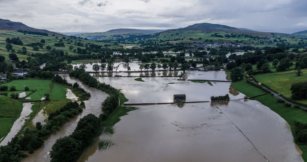 A picture showing the impact of flooding in Swaledale, North East.