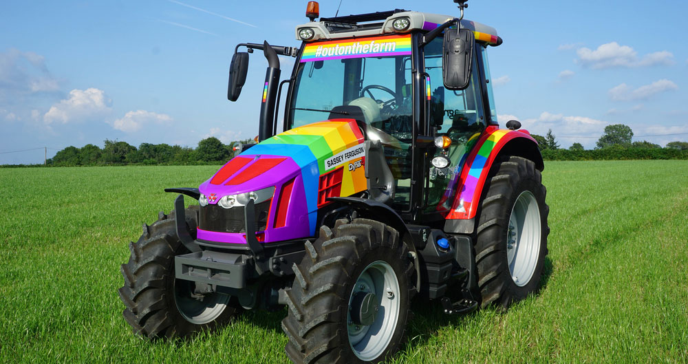 A picture of the Sassey Ferguson tractor that was specially made to support Brighton Pride.