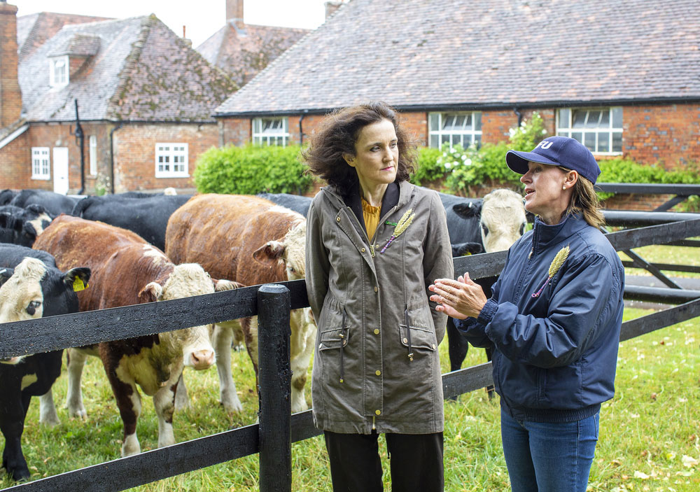 Defra Secretary of State on farm with NFU President Minette Batters in front of livestock wearing Back British Farming pin badges