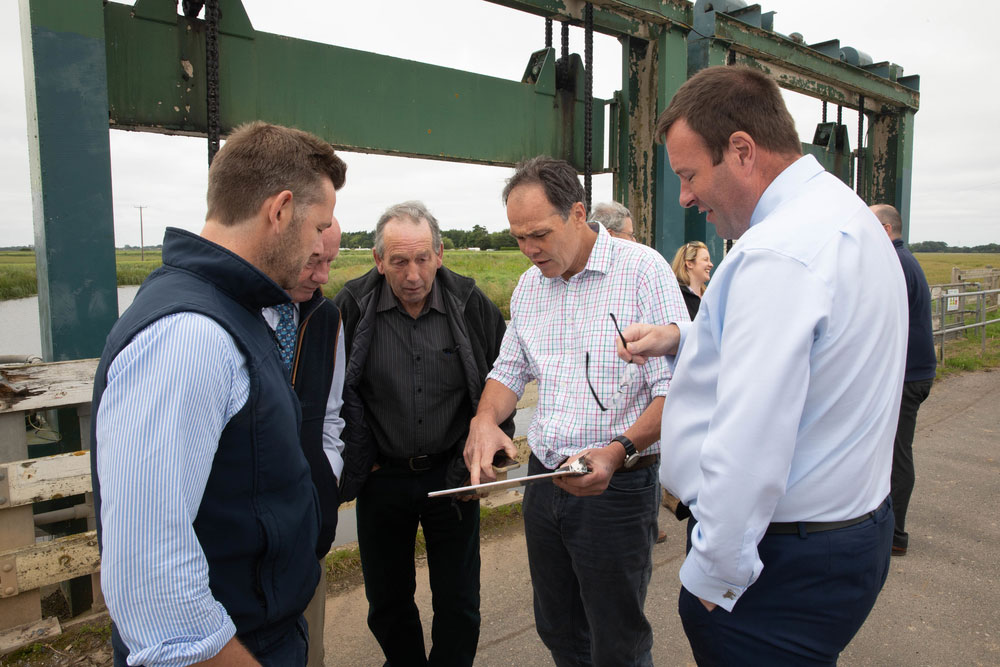 NFU Vice President Stuart Roberts meets NFU members affected by flooding in Wainfleet, Lincolnshire, summer 2019