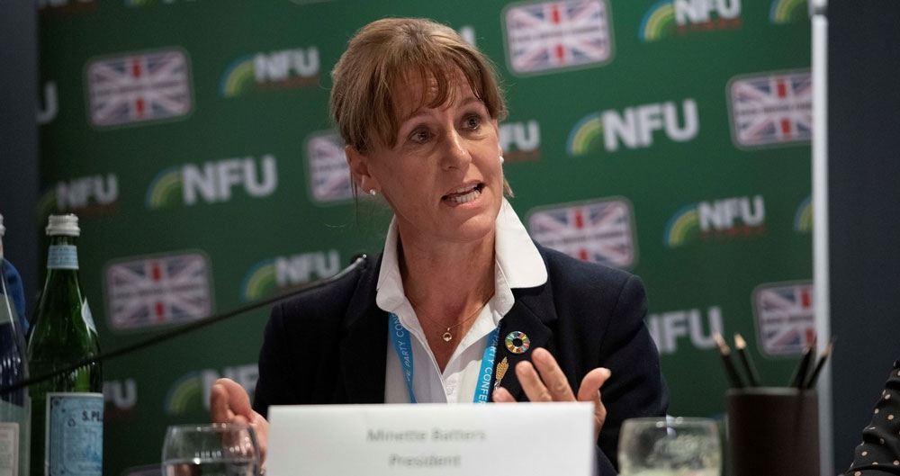 An image of NFU President Minette Batters pictured speaking at the NFU's fringe event at teh Conservative party conference, September 2019