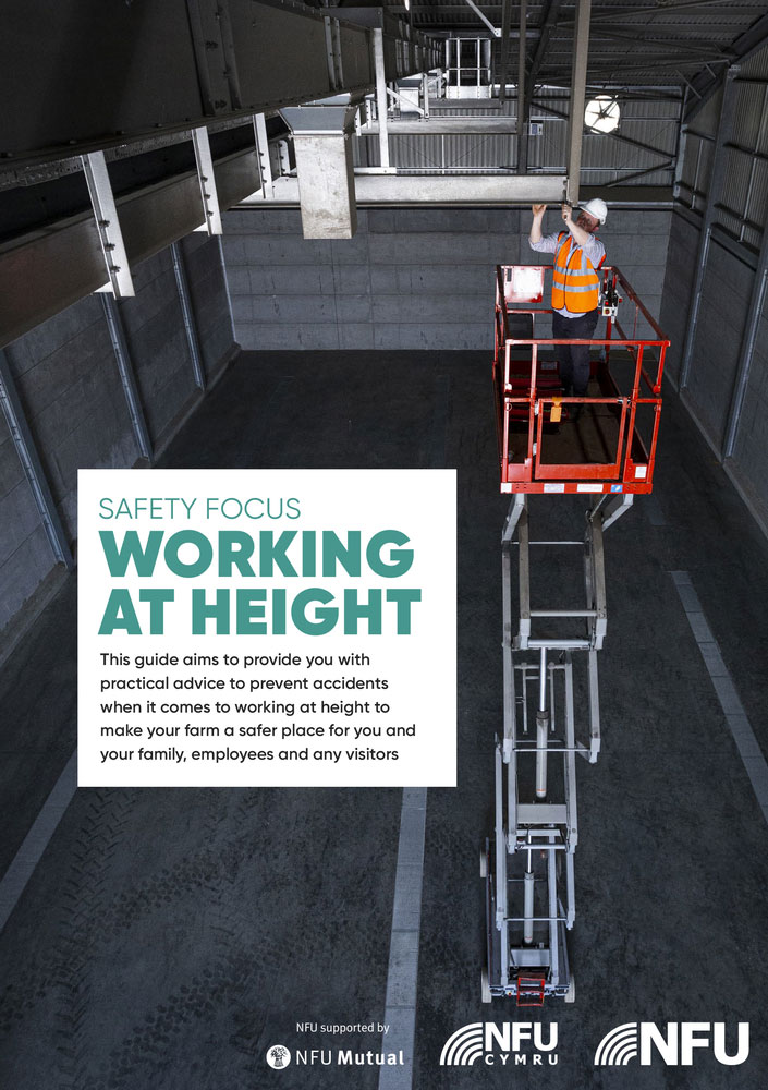 Front cover of the NFU Working at Height leaflet 2019