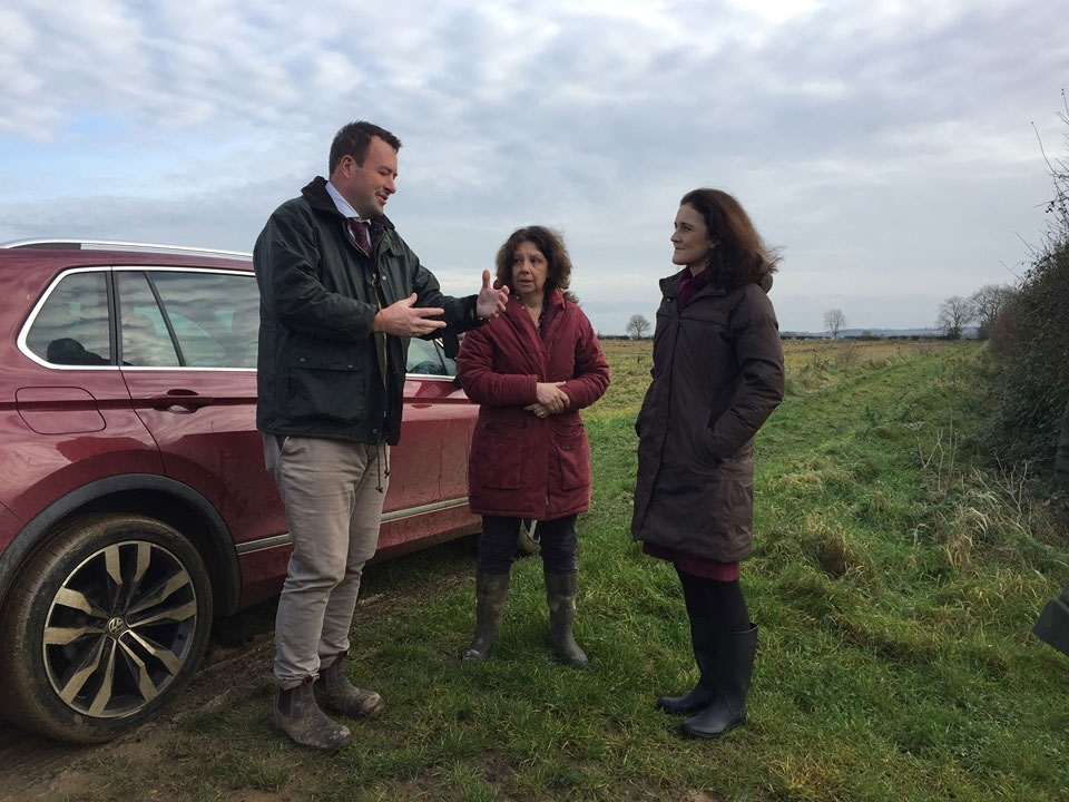 Secretary of State Theresa Villiers visited NFU member Clare Leggott's farm during the November 2019 floods