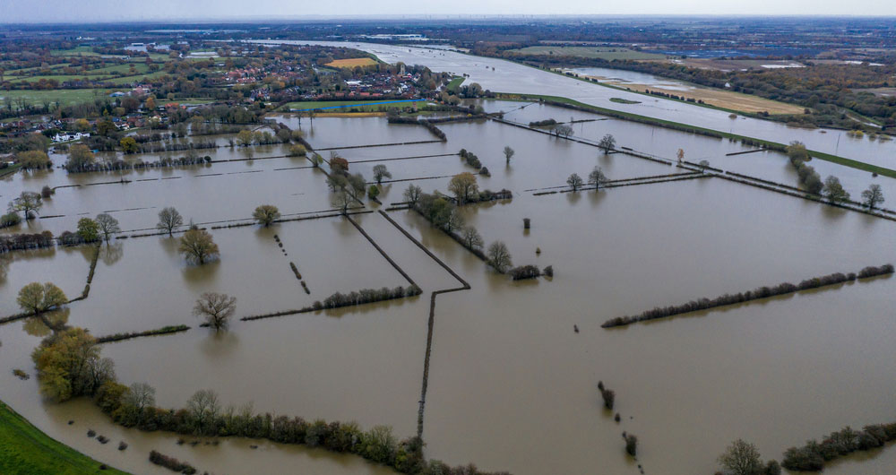An aerial view of flooding in Fishlake, Doncaster, November 2019