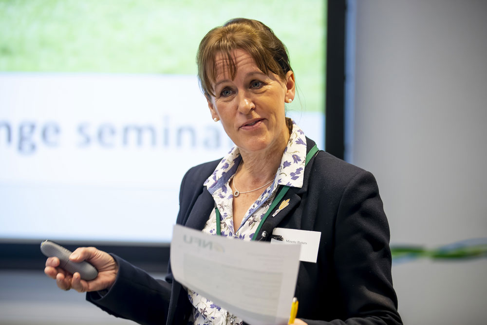 NFU President Minette Batters speaking at NFU seminar on livestock and climate change